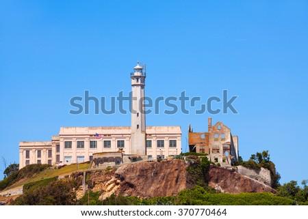 Alcatraz administrative building and tower - stock photo