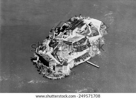 Alcatraz Federal Prison in San Francisco Bay, California, 1938. - stock photo