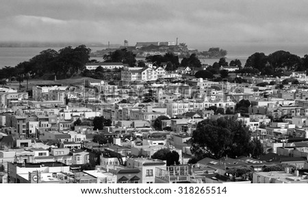 Alcatraz from Pacific Heights San Francisco Black and White - stock photo