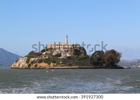 Alcatraz Island, developed with facilities for a lighthouse, a military fortification, a military prison and a federal prison, is a national recreational area and a National Historic Landmark. - stock photo