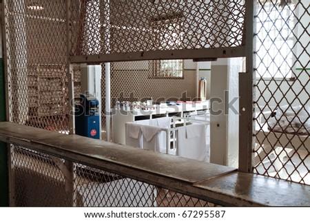 Alcatraz Island in San Francisco, California. Prison cell interior and penitentiary. - stock photo