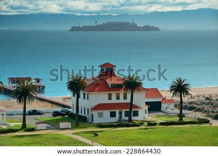 Alcatraz Island in San Francisco over Pacific Ocean - stock photo
