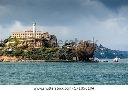Alcatraz Island in San Francisco, USA. - stock photo