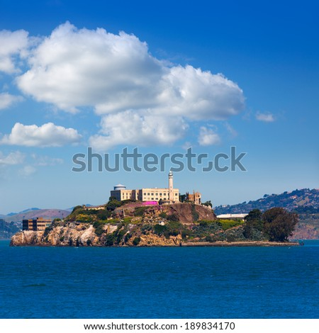 Alcatraz island penitentiary in San Francisco Bay California USA view from Pier 39 - stock photo