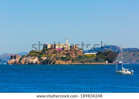 Alcatraz island penitentiary in San Francisco Bay California USA view from Pier 39