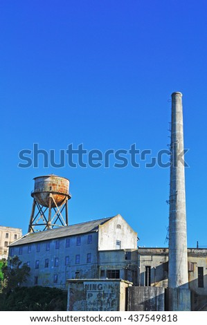 Alcatraz Island: the Power House and the Water Tower on June 13, 2010. The Power House was built in 1939. The Water Tower was built in 1940 by the Federal Bureau of Prisons to supply fresh water