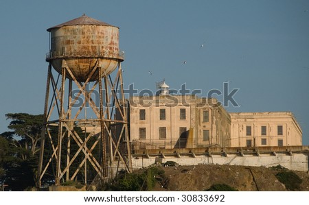 Alcatraz Island, Water Tower and Main Cell House, San Francisco Bay