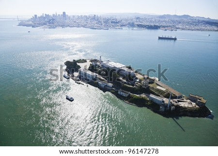 Alcatraz jail and San Francisco bay - stock photo