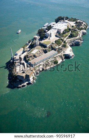 Alcatraz jail in San Francisco bay aerial view - stock photo