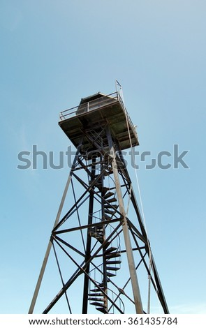Alcatraz watch tower against the blue sky - stock photo