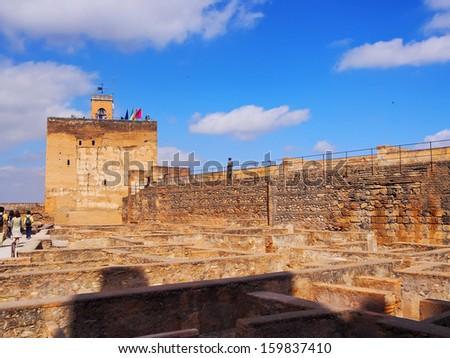 Alcazaba de la Alhambra in Granada, Andalusia, Spain - stock photo