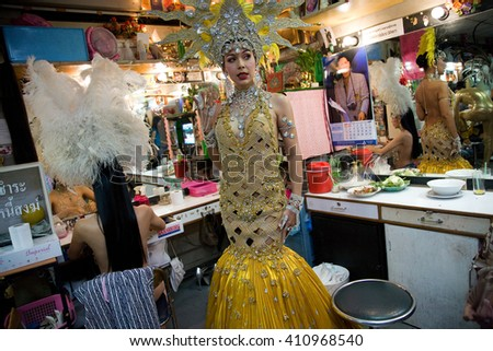ALCAZAR CABARET , PATTAYA, THAILAND - NOVEMBER 1, 2006 :  The Alcazar is one of the famous transsexual show, A dancer waiting in the backstage to go on stage - stock photo