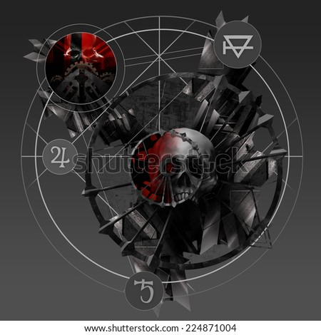 Alchemy skull. Abstract sign with metal parts and skulls pentacle art illustration. - stock photo