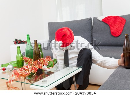 Alcohol abuse during holiday period can hurt - stock photo