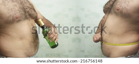 Alcohol abuse Two fat man with full luxury green glass bottle beer and with centimeter round belly on textured green wall with wallpaper Empty copy space for inscription - stock photo