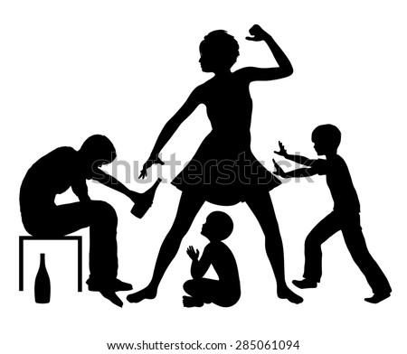 Alcohol and Domestic Violence. Violent family conflict due to the alcohol addiction of one partner - stock photo