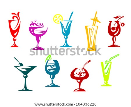 Alcohol and juice cocktails set for beverages design, such logo. Vector version also available in gallery - stock photo