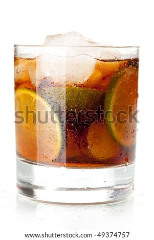 Alcohol cocktail collection - Cuba Libre. Isolated on white background - stock photo