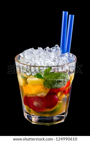 Alcohol cocktail drink with ice, isolated black background
