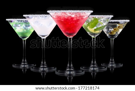 alcohol cocktail set on a black. Berry cooler cocktail, martini, mojito,  Pina Colada - stock photo
