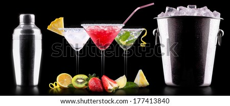 alcohol cocktail set with tasty summer fruits. Berry cooler cocktail, martini, mojito,  Pina Colada - stock photo