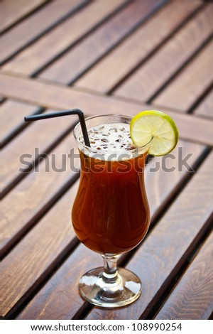 Alcohol cocktail with coffee liquor served on restaurant table - stock photo