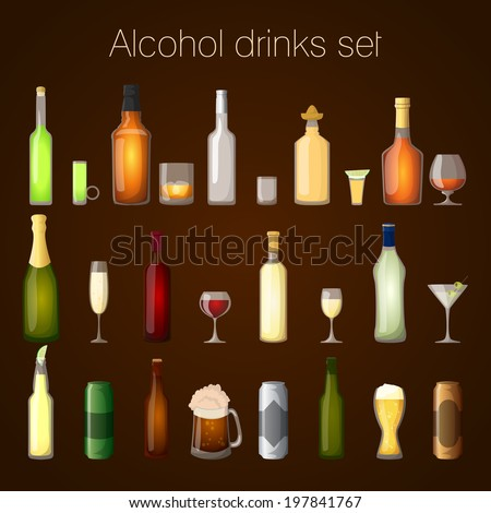 Alcohol drinks bottles and glass set of wine beer champagne martini isolated  illustration