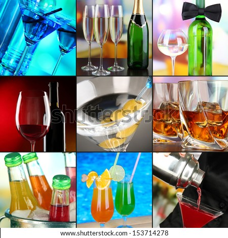 Alcohol drinks collage - stock photo