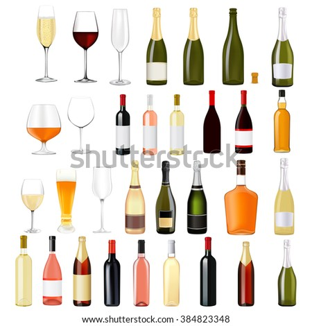 Alcohol drinks in bottles and glasses: whiskey, cognac, brandy, beer, champagne, wine.   illustration isolated on white background. Raster version
