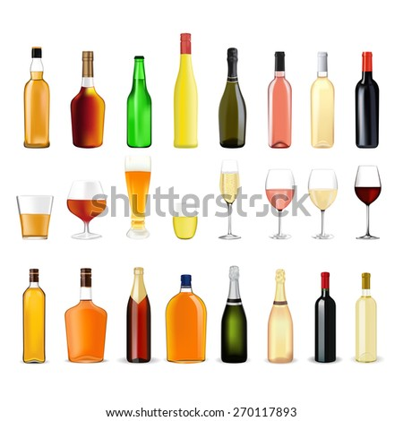 Alcohol drinks in bottles and glasses: whiskey, cognac, brandy, beer, liquor, champagne, wine. Isolated on white background. Raster version