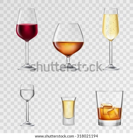 Alcohol drinks in 3d realistic glasses transparent set isolated  illustration - stock photo