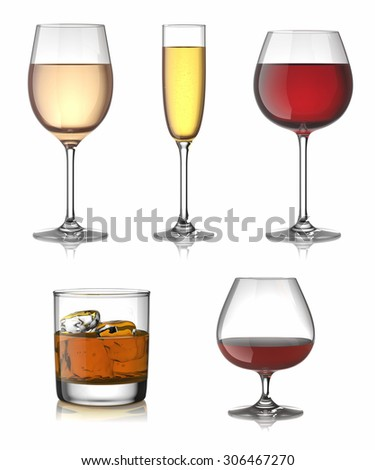 Alcohol drinks set isolated over white. - stock photo