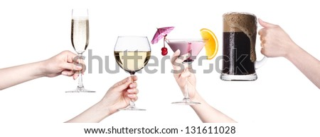 alcohol drinks set making toast  isolated on a white background