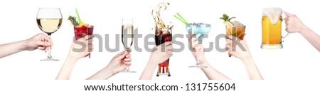 alcohol drinks set making toast  isolated on a white background - stock photo