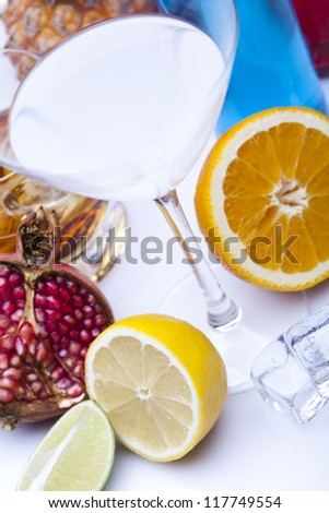 Alcohol drinks set with fruits