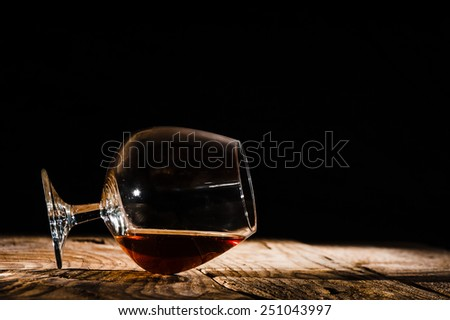 Alcohol in large round glass, Whiskey, Brandy, Cognac