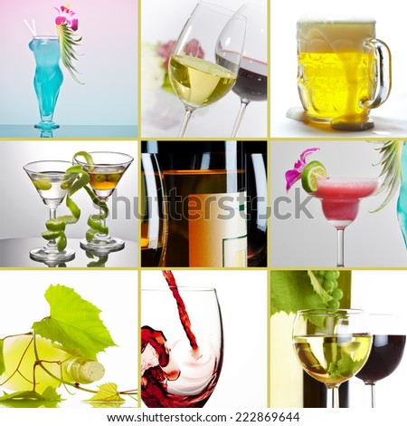 alcohol theme collage composed of different images - stock photo