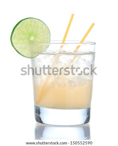 Alcohol yellow lemon margarita cocktail drink with lime isolated on a white background - stock photo