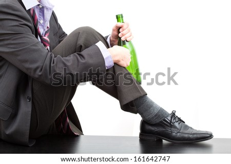 Alcoholic after work drinking wine, isolated background