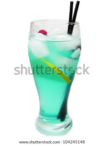 alcoholic blue curacao cocktail with ice and lemon - stock photo