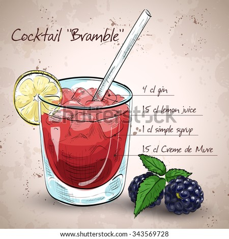 Alcoholic cocktail Bramble with Gin, lemon, sugar syrup, Blackberry liqueur - stock photo