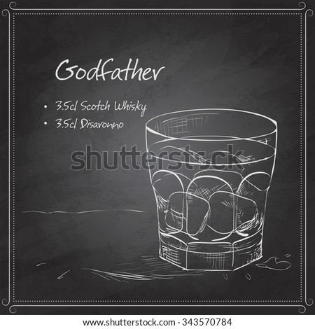 Alcoholic Cocktail Godfather with Scotch whiskey and liqueur Amaretto on black board - stock photo