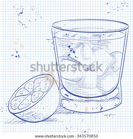 Alcoholic Cocktail Godmother on a notebook page with Vodka and liqueur Amaretto - stock photo