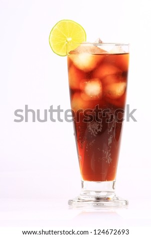 Alcoholic Cocktail , Ice Cola with lemon, Cuba Libre made of Cola, Lime and Rum. Isolated on White Background