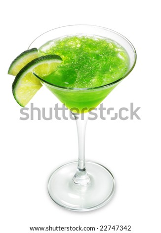 Alcoholic Cocktail made of Liqueur Lychee, Tequila and Lime Juice. Isolated on White Background