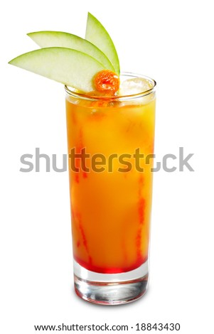Alcoholic Cocktail made of Liqueur, Rum, Pineapple Juice and Grenadine Syrup Served with Apple Slice. Isolated on White Background - stock photo