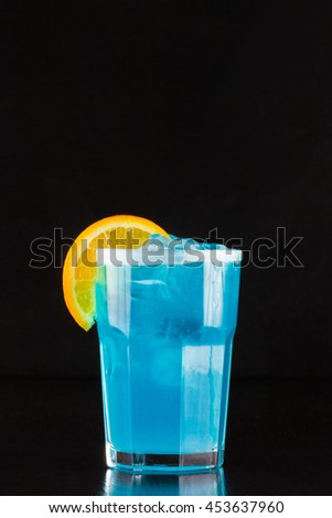 alcoholic cocktail menu - Blue Lagoon - stock photo