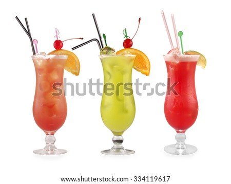 alcoholic cocktail set against a white background