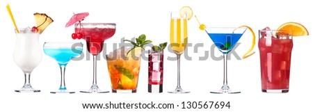 alcoholic cocktail set isolated on white background - stock photo