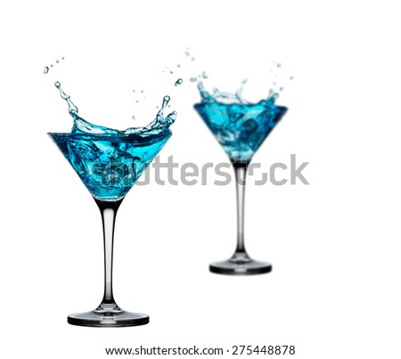 alcoholic cocktail set splash - Blue Curacao